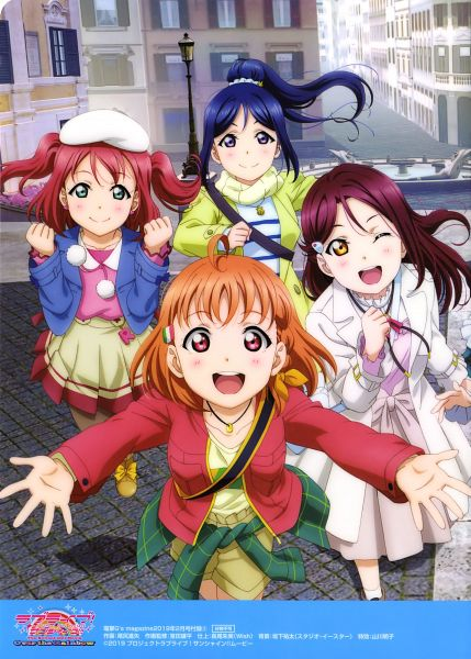 Tags: Anime, Sunrise (Studio), Love Live! Sunshine!!, Love Live! Sunshine!! The School Idol Movie: Over the Rainbow, Matsuura Kanan, Sakurauchi Riko, Takami Chika, Kurosawa Ruby, Scan, Official Art