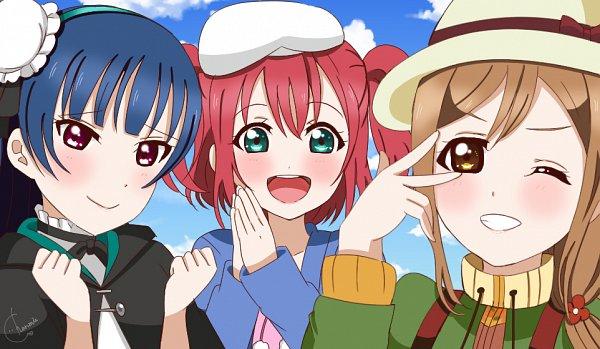 Tags: Anime, Pixiv Id 29660259, Love Live! Sunshine!!, Love Live! Sunshine!! The School Idol Movie: Over the Rainbow, Kurosawa Ruby, Kunikida Hanamaru, Tsushima Yoshiko, Fanart From Pixiv, Pixiv, Fanart