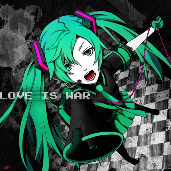 Tags: Anime, Pixiv Id 575354, VOCALOID, Hatsune Miku, Green Gloves, Pixiv, Love is War