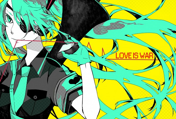 Tags: Anime, Pixiv Id 418842, VOCALOID, Hatsune Miku, Aqua Gloves, Pixiv, Love is War