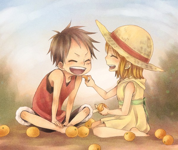 Tags: Anime, Pixiv Id 1034630, ONE PIECE, Monkey D. Luffy, Nami (ONE PIECE), Fanart, Pixiv, Fanart From Pixiv, PNG Conversion, LuNa (Pairing)