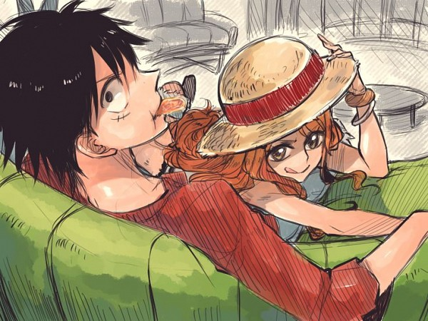 Tags: Anime, Rusky-boz, ONE PIECE, Nami (ONE PIECE), Monkey D. Luffy, Sketch, One Piece: Two Years Later, Fanart, LuNa (Pairing)