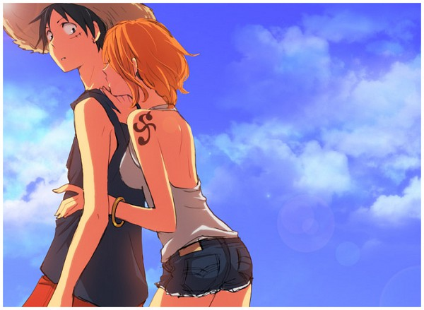 Tags: Anime, Harumi Chihiro, ONE PIECE, Nami (ONE PIECE), Monkey D. Luffy, Enlarged, Kiss On The Neck, Pixiv, LuNa (Pairing)