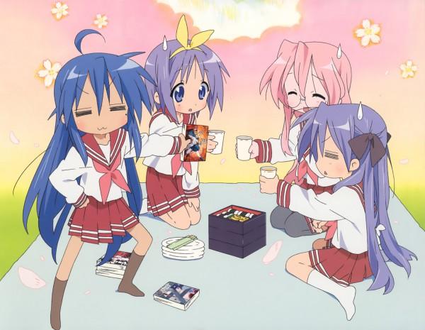 Tags: Anime, Kyoto Animation, Lucky☆Star, Comp H's 3, Takara Miyuki, Hiiragi Tsukasa, Hiiragi Kagami, Izumi Konata, Picnic, = =, Official Art, Scan