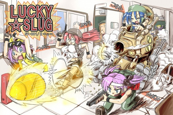 Tags: Anime, Pixiv Id 8487, SNK Playmore, Lucky☆Star, Metal Slug, Takara Miyuki, Kuroi Nanako, Hiiragi Tsukasa, Hiiragi Kagami, Izumi Konata, Minegishi Ayano, Fio Germi (Cosplay), Metal Slug (Parody)
