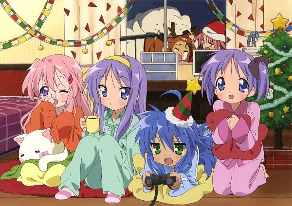 Tags: Anime, Ordet, Kyoto Animation, Lucky☆Star, Nyamou, Animal on Lap, Sleepover, Paper Chain, Official Art, Hiiragi Twins