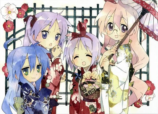Tags: Anime, Kyoto Animation, Lucky☆Star, Hiiragi Kagami, Izumi Konata, Takara Miyuki, Hiiragi Tsukasa, Official Art