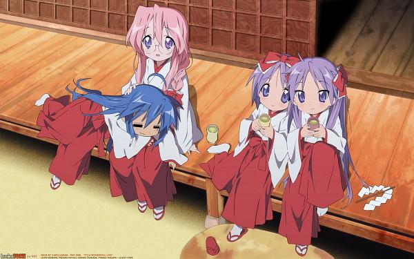 Tags: Anime, Lucky☆Star, Hiiragi Kagami, Izumi Konata, Takara Miyuki, Hiiragi Tsukasa, Fanmade Wallpaper, Edited, Wallpaper