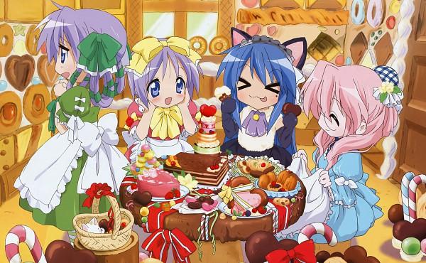 Tags: Anime, Kyoto Animation, Lucky☆Star, Comp H's 8, Hiiragi Kagami, Izumi Konata, Takara Miyuki, Hiiragi Tsukasa, Tarts, Gingerbread House, Hair Over Breasts, Candy Cane, Scan