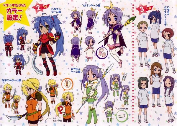 Tags: Anime, Lucky☆Star, Hiiragi Tsukasa, Hiiragi Kagami, Izumi Konata, Kuroi Nanako, Character Sheet, Hiiragi Twins