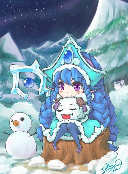 Tags: Anime, Pixiv Id 1514625, League of Legends, Lulu (League of Legends), Volibear, Poro (League of Legends), Tree Stump, Alternate Skin Color, Pixiv, Fanart, Mobile Wallpaper