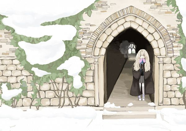 Tags: Anime, Ritale, Harry Potter, Luna Lovegood, Stone Wall, Purple Handwear, Gray Skirt, Fanart, Pixiv, Ravenclaw House
