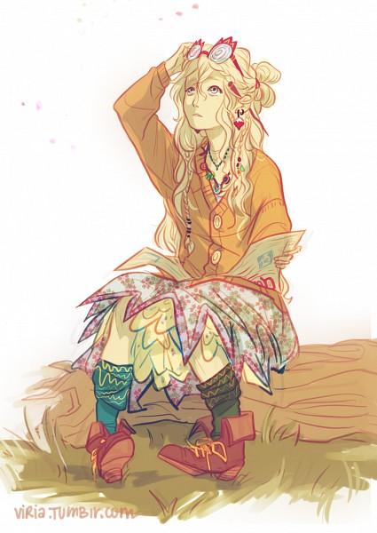 Tags: Anime, Viktoria Ridzel, Harry Potter, Luna Lovegood, Tree Stump, Newspaper, Bottle Cap, Orange Outerwear, Laced Shoes, Radish, Journal, Yellow Legwear, Mobile Wallpaper