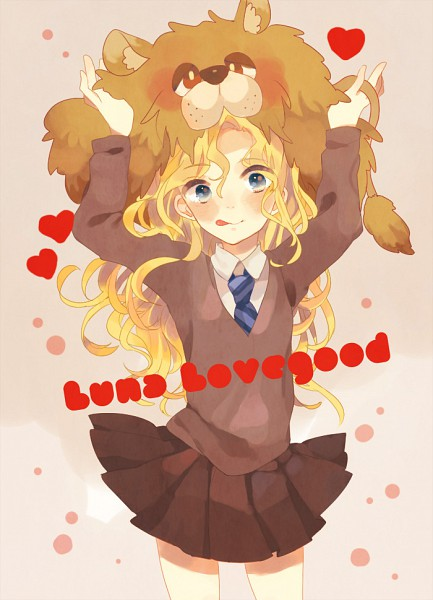Tags: Anime, Miyako (Xxxbibit), Harry Potter, Luna Lovegood, Lion Hat, Brown Skirt, Wide Eyes, V-neck, Fanart, Fanart From Pixiv, Pixiv, Mobile Wallpaper, Ravenclaw House