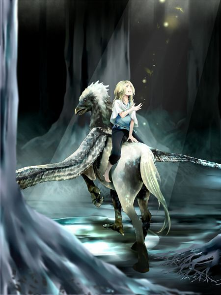 Tags: Anime, Pixiv Id 580954, Harry Potter, Luna Lovegood, Hippogriff, Fanart, Pixiv