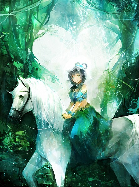 Tags: Anime, Zhuxiao517, VOCALOID, Luo Tianyi, Horseback Riding, Pixiv