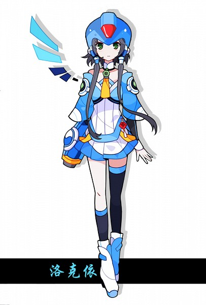 Tags: Anime, Pixiv Id 3410592, VOCALOID, Luo Tianyi, Megaman (Cosplay), Chinese Text, One Wing, Pixiv, Fanart