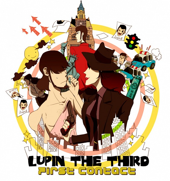 Tags: Anime, Pixiv Id 347173, Lupin III, Zenigata Kouichi, Mine Fujiko, Arsene Lupin III, Ishikawa Goemon XIII, Jigen Daisuke, Pixiv, Fanart