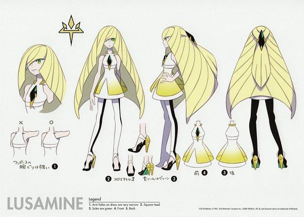 Tags: Anime, Sugimori Ken, Pokémon Sun & Moon, Pokémon, Lusamine, Official Art, Character Sheet
