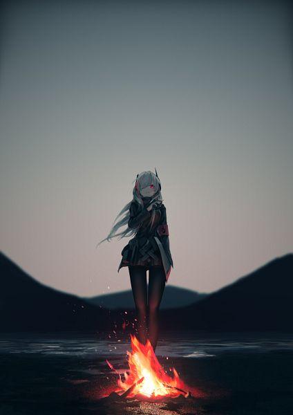 Tags: Anime, Pixiv Id 17299456, Girls Frontline, M4 SOPMODII (Girls Frontline), Campfire, Fanart From Pixiv, Pixiv, Fanart