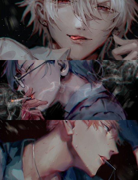Tags: Anime, mebarunrun, Hypnosis Mic -Division Rap Battle-, Busujima Mason Riou, Aohitsugi Samatoki, Iruma Jyuto, MAD TRIGGER CREW