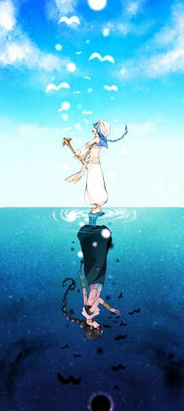 Tags: Anime, Pixiv Id 520618, MAGI: The Labyrinth of Magic, Aladdin (Magi), Judar, Baggy Pants, Different Reflection, Eclipse, V Bird, Recorder, Walking On Water, Turban, Afghani Pants, The Labyrinth Of Magic Magi