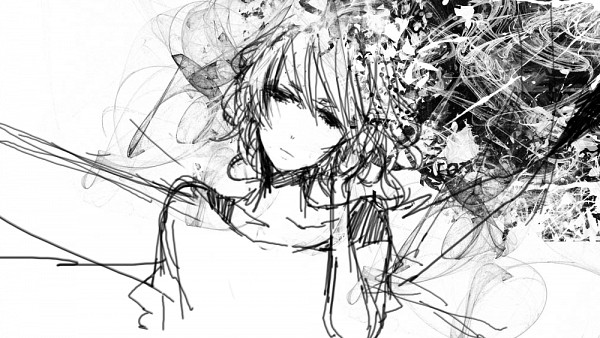 Tags: Anime, Ma, Swirls, Surreal, Upset, Protruding Bones, Thinking, Pixiv, Original, Sketch, Facebook Cover