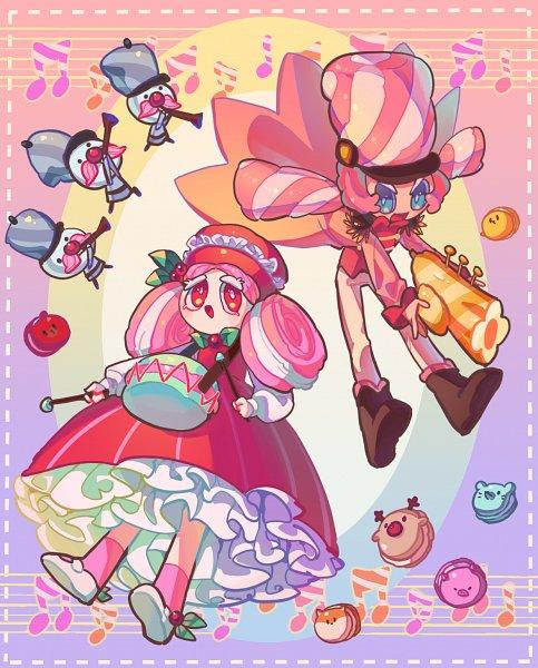 Tags: Anime, Bluez3619995, Cookie Run: OvenBreak, Cookie Run, Marshmallow Cookie, Macaron Cookie, Trumpet, Drumsticks, Fanart, MacaMallow