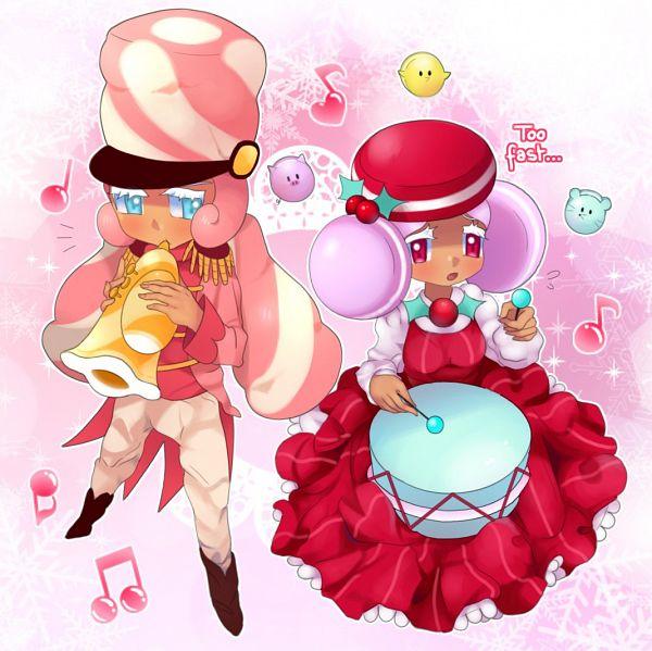 Tags: Anime, Milcherie, Cookie Run: OvenBreak, Cookie Run, Marshmallow Cookie, Macaron Cookie, Trumpet, Drumsticks, Twitter, Fanart, MacaMallow