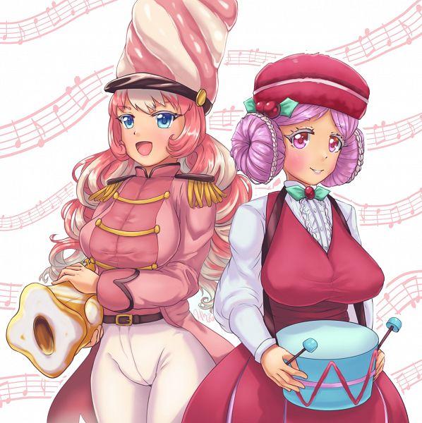 Tags: Anime, Mignonette, Cookie Run: OvenBreak, Cookie Run, Marshmallow Cookie, Macaron Cookie, Pink Jacket, Trumpet, Drumsticks, Fanart From Pixiv, Pixiv, PNG Conversion, Fanart