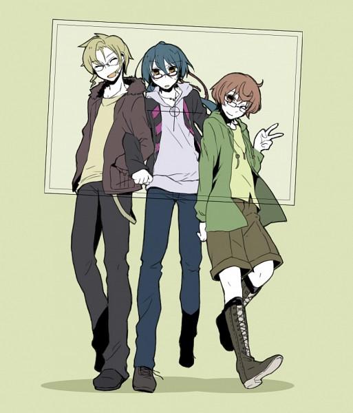 Tags: Anime, Yuzu (pixiv288987), Macross Frontier, Saotome Alto, Luca Angelloni, Mikhail Blanc, Pixiv, Fanart