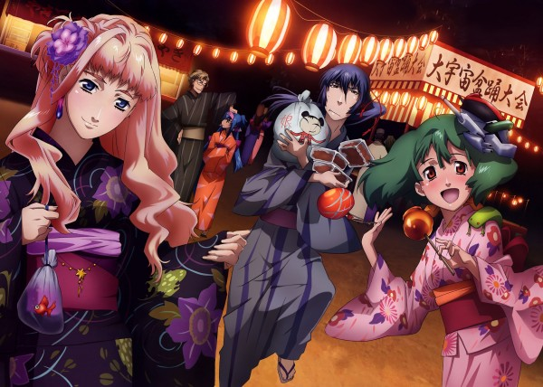 Tags: Anime, Macross Frontier, Mikhail Blanc, Klan Klang, Saotome Alto, Sheryl Nome, Ranka Lee, Festival, Goldfish Game, Candy Apple, Artist Request, Official Art