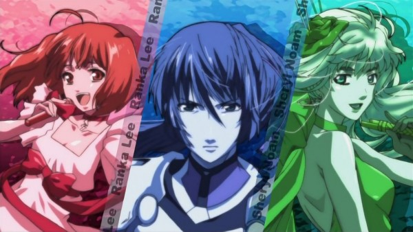 Tags: Anime, Macross Frontier, Saotome Alto, Sheryl Nome, Ranka Lee, Screenshot, Wallpaper