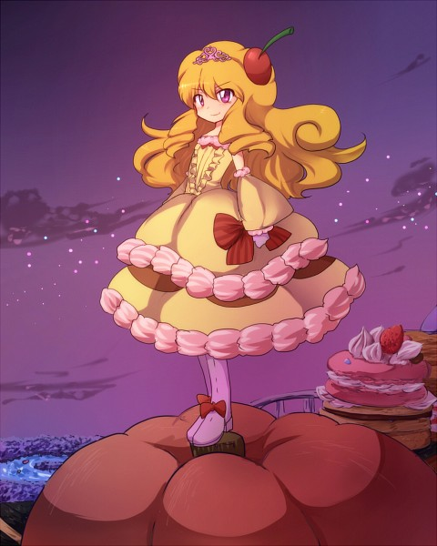 Tags: Anime, Luna (Pixiv5270360), Yu-Gi-Oh!, Madolche Puddingcess, Yellow Armwear, Gown, Fanart, Fanart From Pixiv, Pixiv