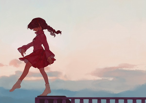 Tags: Anime, Met-tha, Yume Nikki, Madotsuki, Footwear Off, Balcony, Pixiv, Fanart From Pixiv, Fanart