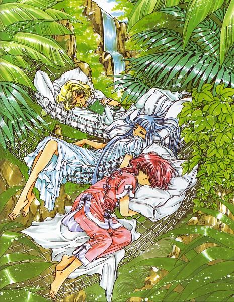 Tags: Anime, CLAMP, Magic Knight Rayearth, Hououji Fuu, Ryuuzaki Umi, Shidou Hikaru, Peaceful, Garden, Waterfall, Official Art