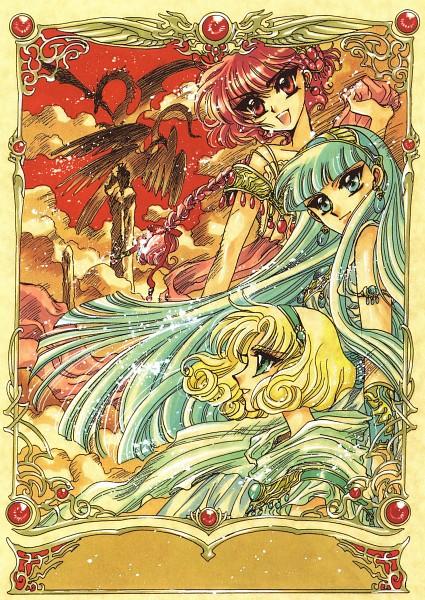 Tags: Anime, CLAMP, Magic Knight Rayearth, Windam (TRC), Kudan, Rayearth (TRC), Hououji Fuu, Ryuuzaki Umi, Celes (TRC), Shidou Hikaru, Mobile Wallpaper, Official Art