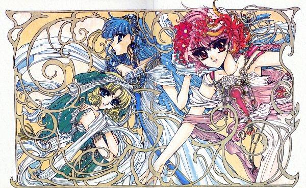 Tags: Anime, CLAMP, Magic Knight Rayearth, Hououji Fuu, Ryuuzaki Umi, Shidou Hikaru, Art Nouveau, Official Art
