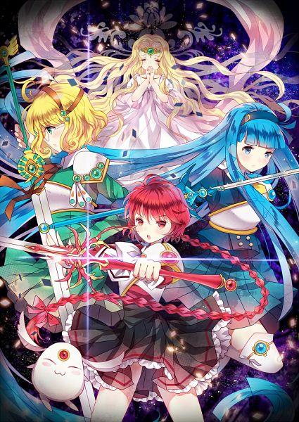 Tags: Anime, Domotolain, Magic Knight Rayearth, Emeraude (CLAMP), Hououji Fuu, Ryuuzaki Umi, Mokona Modoki, Shidou Hikaru, Fanart, Mobile Wallpaper, Pixiv