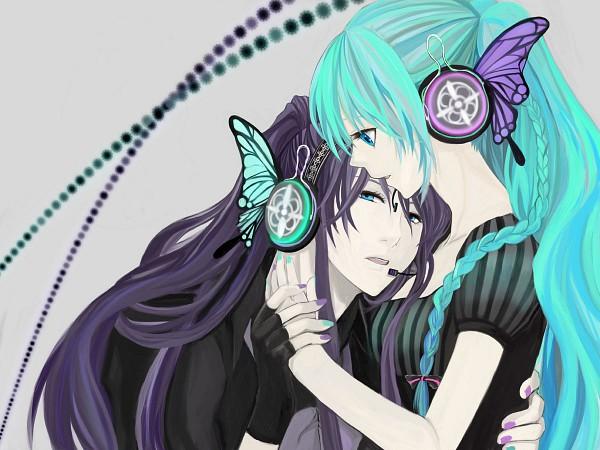 Tags: Anime, Honoka (Pixiv130846), VOCALOID, Kamui Gakupo, Hatsune Miku, Multi-colored Nails, Wallpaper, Magnet