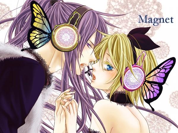 Tags: Anime, VOCALOID, Kagamine Rin, Kamui Gakupo, Wallpaper, Artist Request, Magnet, Fanart