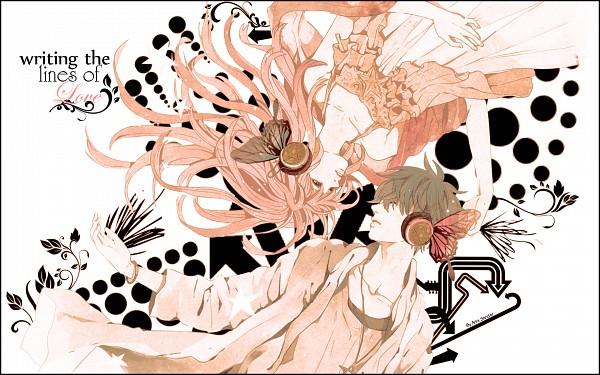 Tags: Anime, Sumishuu, Sanrio, Lala (Sanrio), Kiki (Sanrio), Yin Yang Arrangement, Orange (Color), Wallpaper, Magnet, Little Twin Stars