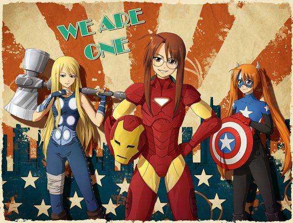 Tags: Anime, Kunoichi-san, Mahou Sensei Negima!, Yukihiro Ayaka, Kagurazaka Asuna, Hasegawa Chisame, Thor Odinson (Cosplay), Iron Man (Cosplay), Captain America (Cosplay), Mahora 3-a, Ala Alba, Magical Teacher Negima!