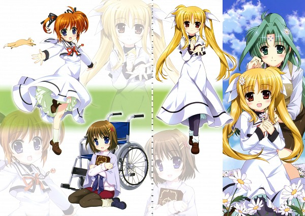 Tags: Anime, Fujima Takuya, Mahou Shoujo Lyrical Nanoha, ViVidgirls, Takamachi Nanoha, Fate Testarossa, Lindy Harlaown, Yagami Hayate, Yuuno Scrya, Official Art, Scan, Magical Girl Lyrical Nanoha