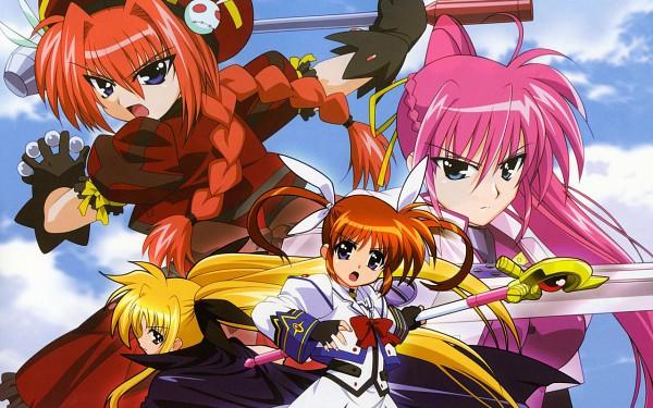 Tags: Anime, Mahou Shoujo Lyrical Nanoha, Takamachi Nanoha, Fate Testarossa, Signum, Vita, Wallpaper, Magical Girl Lyrical Nanoha