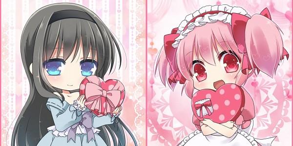 Tags: Anime, Ko Ru Ri, Mahou Shoujo Madoka☆Magica, Kaname Madoka, Akemi Homura, Heart Box, Chocolate Box, Magical Girl Madoka Magica