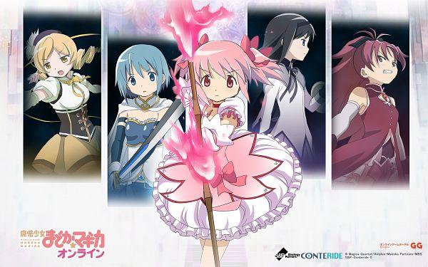 Tags: Anime, Shaft (Studio), Mahou Shoujo Madoka☆Magica, Kaname Madoka, Akemi Homura, Sakura Kyouko, Tomoe Mami, Miki Sayaka, Official Wallpaper, Wallpaper, Official Art, Magical Girl Madoka Magica