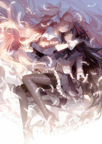Tags: Anime, Rella, Mahou Shoujo Madoka☆Magica, Kaname Madoka, Akemi Homura, Ultimate Madoka, Hug Neck, Mobile Wallpaper