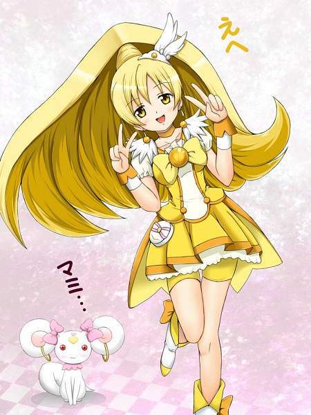 Tags: Anime, Kazemanagi, Mahou Shoujo Madoka☆Magica, Smile Precure!, Kyubee, Tomoe Mami, Pretty Cure Series (Parody), Cure Peace (Cosplay), Candy (Smile Precure) (Cosplay), Fanart From Pixiv, Pixiv, Fanart, Magical Girl Madoka Magica
