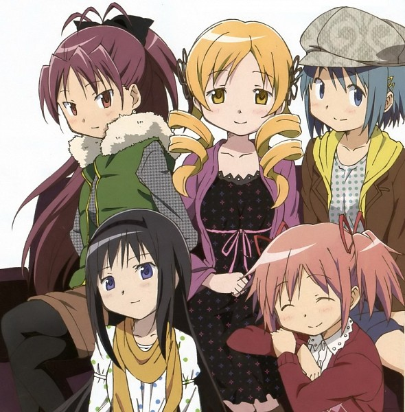 Tags: Anime, Shaft (Studio), Mahou Shoujo Madoka☆Magica, Miki Sayaka, Kaname Madoka, Akemi Homura, Sakura Kyouko, Tomoe Mami, Official Art, Magical Girl Madoka Magica